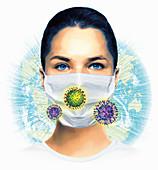Global viral pandemic, conceptual illustration