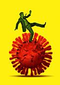 Businessman struggling on coronavirus, illustration