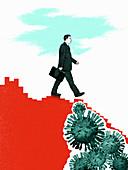 Business declining from coronavirus, illustration