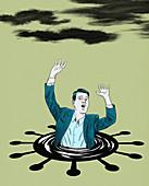 Businessman drowning in coronavirus puddle, illustration