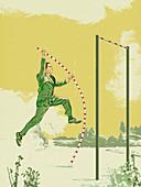 Businessman pole vaulting, illustration