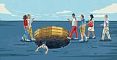 People obliviously walking towards money hole, illustration