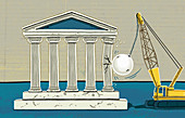 Wrecking ball knocking down columns, illustration