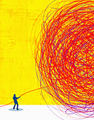 Man unravelling giant tangled ball of string, illustration