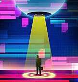 Businessman in spotlight, illustration