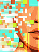 Human face breaking up into pixels, illustration