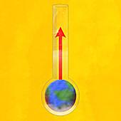 Temperature rising in globe thermometer, illustration