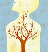 Fruit tree growing inside of human body, illustration