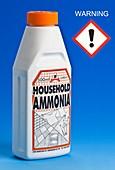 Household ammonia with hazard pictogram.