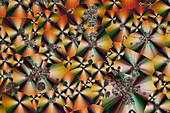 Cholesteryl acetate, polarised light micrograph