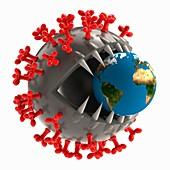 Coronavirus capsid, conceptual illustration