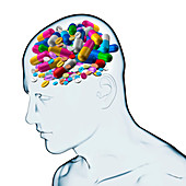 Drug addiction, conceptual illustration