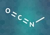 Methyl isocyanate toxic molecule, illustration