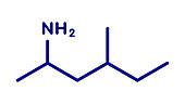 Methylhexanamine stimulant drug molecule, illustration
