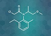 Metolachlor herbicide molecule, illustration
