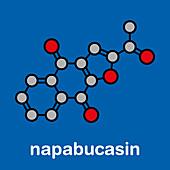 Napabucasin cancer drug molecule, illustration
