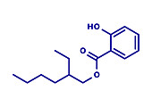Octyl salicylate sunscreen molecule, illustration