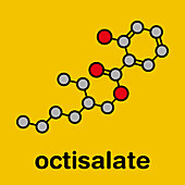 Octyl salicylate sunscreen molecule, illustration