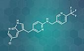 Pexidartinib cancer drug molecule, illustration