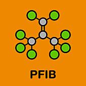 Perfluoroisobutene fluorocarbon molecule, illustration