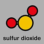 Sulfur dioxide food preservative molecule, illustration