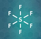 Sulfur hexafluoride gas insulator molecule, illustration