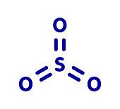 Sulfur trioxide pollutant molecule, illustration