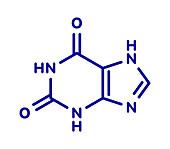 Xanthine purine base molecule, illustration