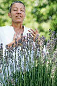 Breathing exercise in a lavender field