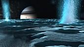 Artwork of Water Plumes on Enceladus