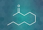 Methyl nonyl ketone insect repellent molecule, illustration