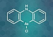 Adamsite riot control agent molecule, illustration