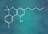 Cannabinol cannabinoid molecule, illustration