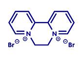 Diquat dibromide contact herbicide molecule, illustration