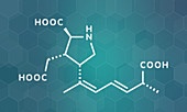 Domoic acid algae poison molecule, illustration