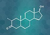 Drostanolone anabolic steroid molecule, illustration