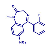 Flunitrazepam hypnotic drug molecule, illustration