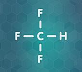 Fluoroform greenhouse gas molecule, illustration
