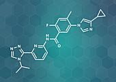 Linzagolix drug molecule, illustration