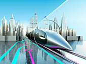 High-speed trains in tunnel, illustration