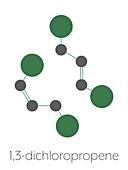 1, 3-dichloropropene pesticide molecule, illustration