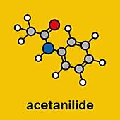 Acetanilide analgesic drug molecule, illustration