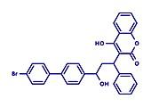 Bromadiolone rodenticide molecule, illustration