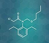 Butachlor herbicide molecule, illustration