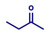 Butanone industrial solvent molecule, illustration