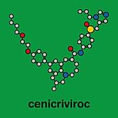 Cenicriviroc HIV drug molecule, illustration