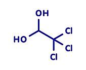 Chloral hydrate sedative drug molecule, illustration