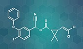 Cyfluthrin insecticide molecule, illustration