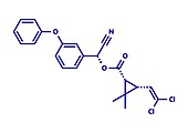 Cypermethrin insecticide molecule, illustration