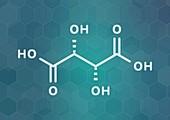 Tartaric acid molecule, illustration